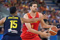 Spain's Pau Gasol and Venezuela's Windi Graterol during friendly match for the preparation for Eurobasket 2017 between Spain and Venezuela at Madrid Arena in Madrid, Spain August 15, 2017. (ALTERPHOTOS/Borja B.Hojas)