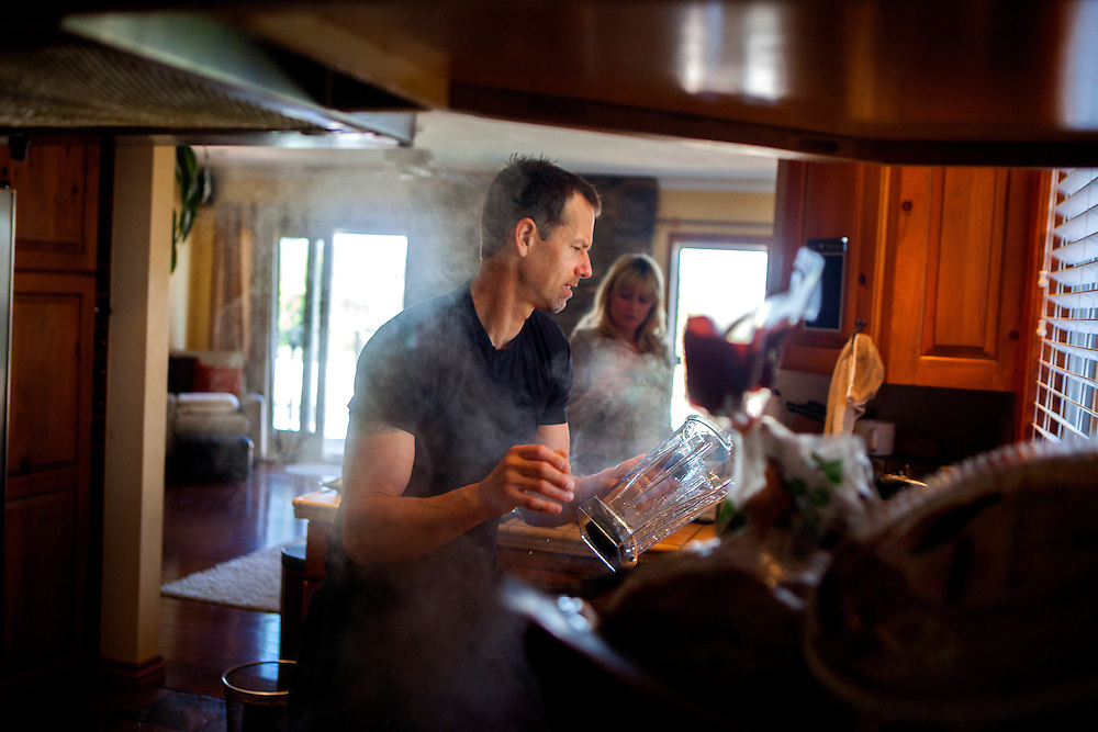 10:10 a.m...Chef Carl Schroeder gets a blender out of the dishwasher to make a protein smoothie before heading out for a day of work. Even though he spends his day focusing on high-end cuisine, Schroeder himself often eats simply -- eggs, protein bars, and a lot of coffee. After years of eating and tasting in the kitchen, Schroeder rarely eats sitting down.