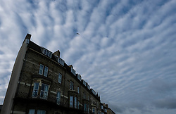 © Licensed to London News Pictures. <br /> 10/01/2017. <br /> Saltburn by the Sea, UK.  <br /> <br /> Altocumulus Undulatus cloud formations form over Saltburn by the Sea.<br /> <br /> The wave like pattern is caused by the way the winds vary with altitude and blow at different speeds above and below the cloud layer.<br /> <br /> <br /> Photo credit: Ian Forsyth/LNP