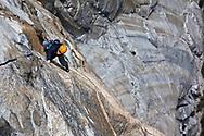 Kate Rutherford and Madaleine Sorkin climbing FreeRider (VI 5.12+), El Cap, Yosemite, CA