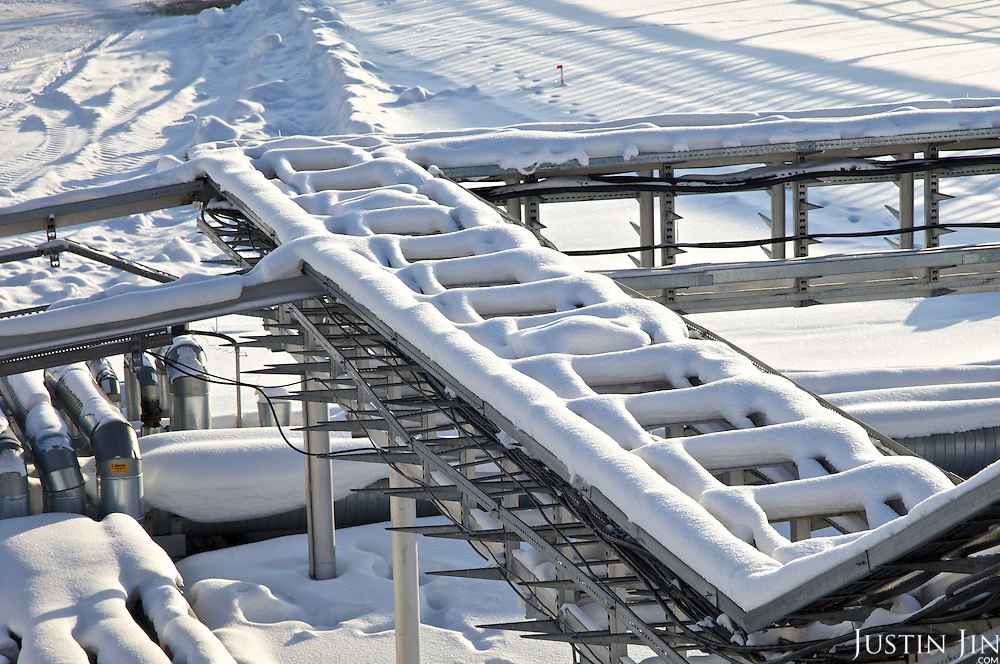 Snow covers gas facility in Novy Urengoi, Siberia, Russia.