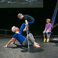 The Way you Look (at me) Tonight ;<br /> CUNNINGHAM AND CURTIS ;<br /> Claire Cunningham (Dancer) ;<br /> Jess Curtis (Choreographer) ;<br />Finn Jones (as audience member) ;<br /> Royal Festival Hall, Southbank ;<br /> 7 September 2016 ;<br /> Credit : Pete Jones / ArenaPal ;<br /> www.arenapal.com