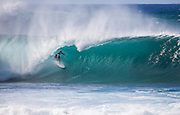 Surfer Riding in the Tube at Pipeline