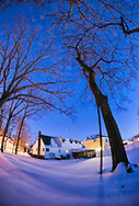 Feb. 9, 2013  Merrick, New York, U.S. - The evening after Blizzard Nemo hits Long Island South Shore communities, home backyards are blanketed in snow. (180 degree fisheye lens view)