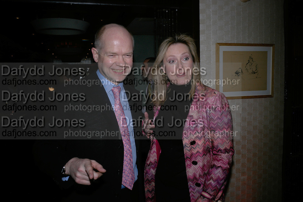 William and Ffion Hague, UK Premiere of Amazing Grace. Curzon Mayfair. Afterparty at the Mirabelle. London. 19 March 2007. -DO NOT ARCHIVE-© Copyright Photograph by Dafydd Jones. 248 Clapham Rd. London SW9 0PZ. Tel 0207 820 0771. www.dafjones.com.