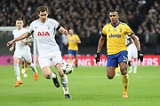 Jan Vertonghen of Tottenham Hotspur (5) screening the ball from Juventus defender Alex Sandro (12) during the Champions League match between Tottenham Hotspur and Juventus FC at Wembley Stadium, London, England on 7 March 2018. Picture by Matthew Redman.