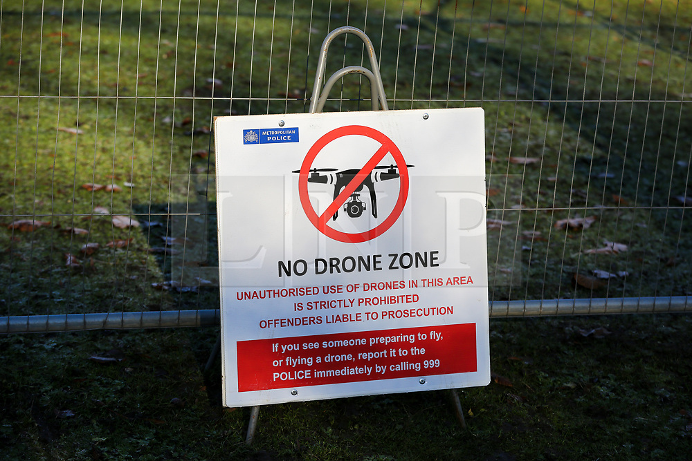 © Licensed to London News Pictures. 02/12/2019. London, UK. A 'NO DRONE ZONE' sign on display at the security fence around Winfield House which is an official residence of the United States Ambassador in Regents Park where President of the United States, DONALD TRUMP will stay during NATO (The North Atlantic Treaty Organisation) summit in London. Photo credit: Dinendra Haria/LNP