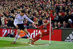 LIVERPOOL, ENGLAND - Thursday, March 10, 2016: Liverpool's Alberto Moreno in action against Manchester United's Chris Smalling during the UEFA Europa League Round of 16 1st Leg match at Anfield. (Pic by David Rawcliffe/Propaganda)