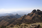 Chain ladder route path leading from the Sentinel up to the Amphitheatre in the Drakensberg mountains of South Africa. Known as uKhahlamba in Zulu which means barrier of the spears. The mountains form a barrier between South Africa and Lesotho and are a world heritage site. The largest proportion of the Drakensberg area falls in the province of KwaZulu-Natal.