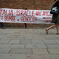 VENICE, ITALY - JUNE 03:  Protesters against Israel policy outside Venice  Biennale during the visit of Israel President Shimon Peres on June 3, 2011 in Venice, Italy.  This year's Biennale is the 54th edition and will run from June 4th until 27 November.