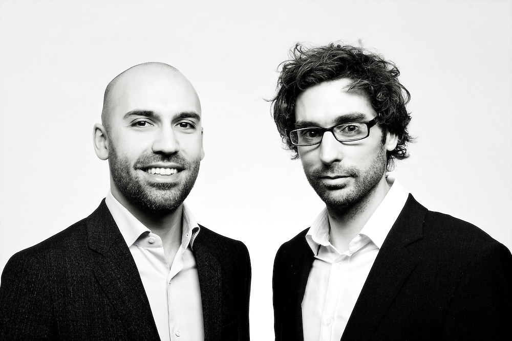 Brussels, Belgium 29 January 2012<br /> Philippe Hijazin and Xavier Scheuer, co-founders of My First Company SPRL.<br /> Photo: Ezequiel Scagnetti