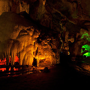 Inside of Tham Chompon Cave, ratchaburi, Thailand. The cave is named after these stalactite formations which resemble epatulettes.