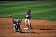 Ole Miss's Sikes Orvis is forced out at second on a double play by Vanderbilt's Tony Kemp (6) at Oxford-University Stadium Stadium in Oxford, Miss. on Saturday, April 6, 2013. Vanderbilt won 2-1.