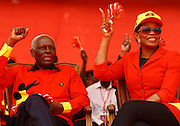 José Eduardo dos Santos, the president of the Republic of Angola and the MPLA number 1 candidate for the forthcoming general elections of August 31, and his wife Ana Paula dos Santos, during a political raly at November 11 Stadium - Luanda, today, August 29, last campaign day.