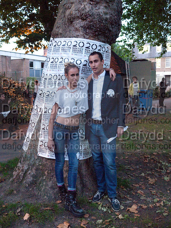 """ALICE DELLAL; ALEX DELLAL, Video artist Yi Zhou  first solo show """"I am your Simulacrum"""".Exhibition opening at 20 Hoxton Square Projects. Hoxton Sq. London. 1 September 2010.  -DO NOT ARCHIVE-© Copyright Photograph by Dafydd Jones. 248 Clapham Rd. London SW9 0PZ. Tel 0207 820 0771. www.dafjones.com."""