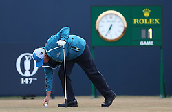 Scotland's Sandy Lyle places his ball on the first tee before day one of The Open Championship 2018 at Carnoustie Golf Links, Angus.