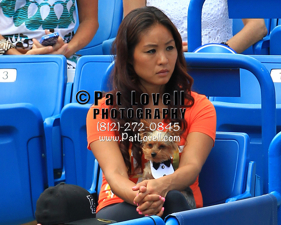 Aug 18, 2013; Cincinnati, OH, USA;  Esther Lee, physiotherapist for Serena Williams, holds William's dog Chip while Williams plays in a match against Victoria Azarenka (BLR) (not pictured) at the Western & Southern Open at the Lindner Family Tennis Center. Mandatory Credit: Pat Lovell-USA TODAY Sports