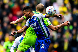 Cheyenne Dunkley of Wigan Athletic heads the ball- Mandatory by-line: Robbie Stephenson/JMP - 14/04/2019 - FOOTBALL - DW Stadium - Wigan, England - Wigan Athletic v Norwich City - Sky Bet Championship