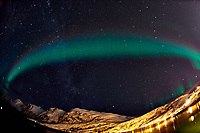 Chasing the Northern Lights. Ersfjord, Kvaløya (Whale Island). Image taken with a Nikon D800 camera and 16 mm f/2.8 fisheye lens (ISO 1600, 16 mm, f/2.8, 15 sec).