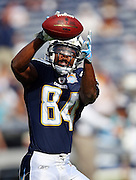 San Diego Chargers wide receiver Buster Davis (84) catches a pregame pass during the NFL football game against the Washington Redskins, January 3, 2010 in San Diego, California. The Chargers won the game 23-20. ©Paul Anthony Spinelli
