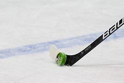 Puck Doping is offside by WADA at ice-hockey match between Denmark U18 and Slovenia U18, on April 15, 2011 at Ledena Dvorana Tabor, Maribor, Slovenia. (Photo By Matic Klansek Velej / Sportida.com)
