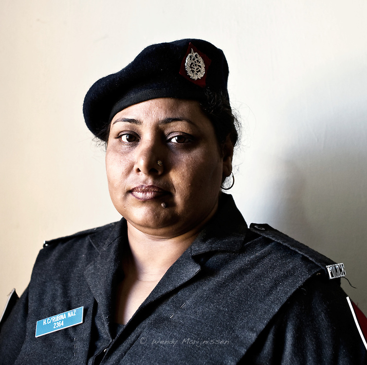 Lady police constable Rubina Naz of the West Karachi Police Station.