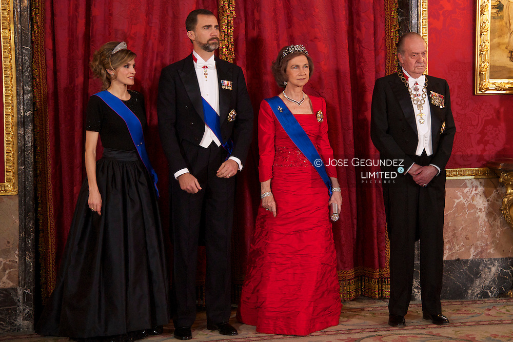 Spanish King Juan Carlos, Queen Sofia, Prince Felipe and Princess Letizia attend a Gala Dinner in Honour of the President of the Republic of Chile Mr. Miguel Juan Sebastian Pin?era Echenique and Mrs. Pin?era at Palacio Real in Madrid