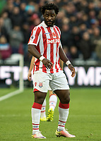 Football - 2016 / 2017 Premier League - West Ham United vs. Stoke City<br /> <br /> Wilfred Bony of Stoke City at The London Stadium.<br /> <br /> COLORSPORT/DANIEL BEARHAM
