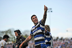 Matt Banahan (Bath) celebrates his try with the crowd - Photo mandatory by-line: Patrick Khachfe/JMP - Tel: Mobile: 07966 386802 19/04/2014 - SPORT - RUGBY UNION - The Recreation Ground, Bath - Bath Rugby v Worcester Warriors - Aviva Premiership.