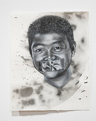 April 26, 2018 - Tampa, Florida, U.S. - A charcoal portrait of Parkland victim Peter Wang, by Symone Hall in the BFA show at the Scarfone/Hartley Gallery at the University of Tampa, on April 26, 2018 in Tampa, Fla. (Credit Image: © Monica Herndon/Tampa Bay Times via ZUMA Wire)