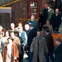 Filming of The Railway Man on Perth Railway Station....01.05.12<br /> Nicole Kidman boarding the train whilst filming for her new film with Colin Firth as extras make their way down the platform<br /> Picture by Graeme Hart.<br /> Copyright Perthshire Picture Agency<br /> Tel: 01738 623350  Mobile: 07990 594431