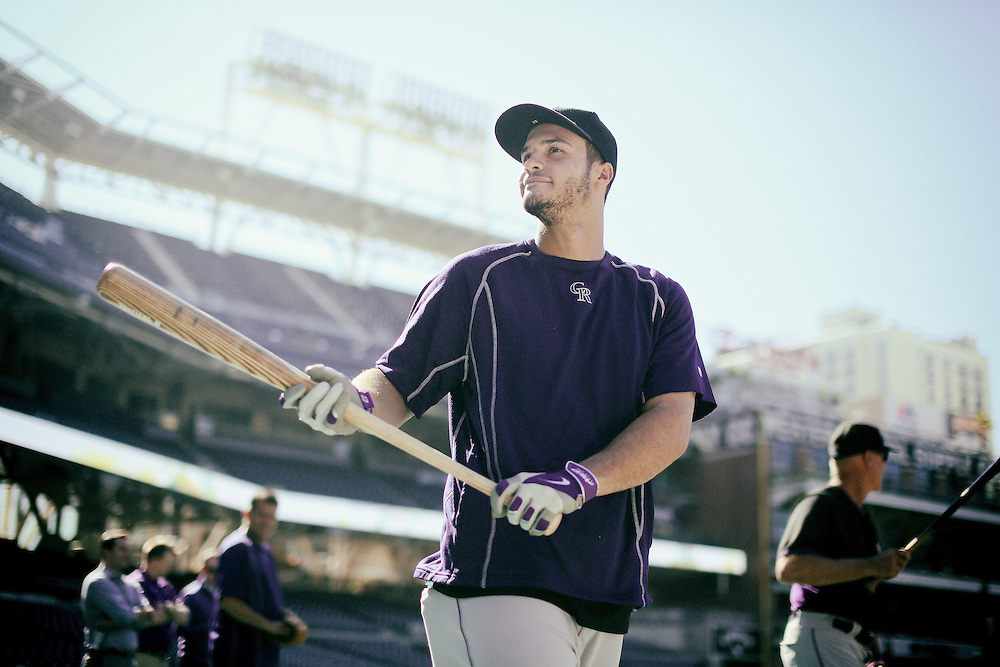 San Diego, CA - JUNE 04:   Nolan Arenado prepares to take batting practice at Petco Park during game with the San Diego Padres San Diego, California.  (Sandy Huffaker for ESPN)