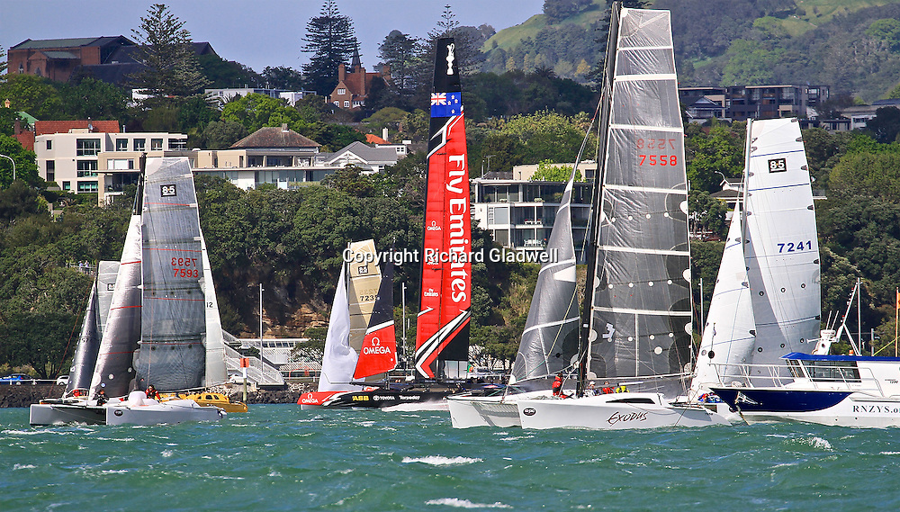 Emirates Team New Zealand at the start of the 2016 Coastal Classic, 21 October 2016.<br /> The Coastal Classic is 119 nautical miles long. It starts off Devonport Wharf in Auckland, and finishes off Russell Wharf in the Bay of Islands.<br /> Copyright photo: Richard Gladwell / www.photosport.nz