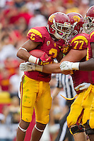 20 October 2012: Wide receiver (2) Robert Woods of the USC Trojans catches a touchdown pass and celebrates against the Colorado Buffalos during the first half of USC's  50-6 victory over Colorado at the Los Angeles Memorial Coliseum in Los Angeles, CA.