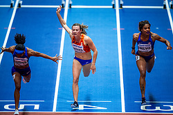 03-03-2018 GBR: World Indoor Championships Athletics day 3, Birmingham<br /> Nadine Visser NED, 60 Metres Hurdles pakt de bronze medaille. De Nederlandse eindigde in 7,84 als derde achter de Amerikaansen Kendra Harrison (7,70) en Christina Manning (7,79).