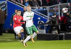 October 8, 2017 - Oslo, NORWAY - 171008  Mohamed Elyounoussi of Norway and Steven Davis of Northern Ireland during the FIFA World Cup Qualifier match between Norway and Northern Ireland on October 8, 2017 in Oslo..Photo: Jon Olav Nesvold / BILDBYRÃ…N / kod JE / 160041 (Credit Image: © Jon Olav Nesvold/Bildbyran via ZUMA Wire)