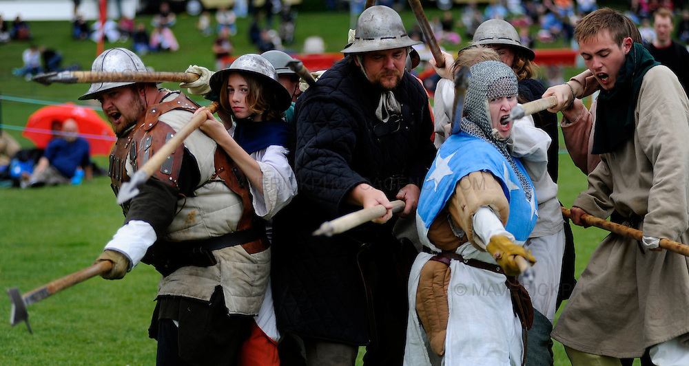 A medley of Medieval events took place at Linlithgow Palce this weekend with members of the public being treated to Swordsmanship, Jousting and Warfare.  Pictured members of the Historic Saltire Society recreate a spear wall which would have been used at the Battle of Banockburn.