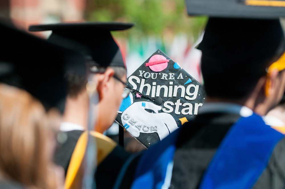 05/18/2014 - Medford/Somerville, MA - A Tufts senior's decorated hat during Tufts University's 158th Commencement on Academic Quad on May 18th, 2014. (Nicholas Pfosi for Tufts University)