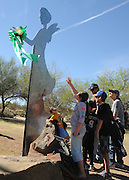 Freedom's Steadfast Angel of Love, a memorial to Christina Taylor-Green, was dedicated at Green Field, James D. Kriegh Park, Oro Valley, Arizona, USA.  Green, 9, who was the youngest victim killed during an assassination attempt of Arizona congresswoman Gabrielle Giffords, played little league baseball at the park.  The angel was created by artist, Lei Hennessy-Owen, with materials from Ground Zero in New York, the Pentagon, and the flight 93 crash sight, which were targeted by terrorists in the September 11 attacks.  Green was born on September 11, 2001.