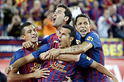 25.05.2012, Vicente Calderon Stadion, Madrid, ESP, Kings Cup Finale, FC Barcelona vs Athletic Bilbao, im Bild Barcelona's Pedro Rodriguez celebrates with Sergio Busquets, Alexis Sanchez and Adriano Correia // during the Spanish Kings Cup final match between Fc Barcelona and Athletic Bilbao at the Vicente Calderon Stadium, Madrid, Spain on 2012/05/25. EXPA Pictures © 2012, PhotoCredit: EXPA/ Alterphotos/ Alvaro Hernandez..***** ATTENTION - OUT OF ESP and SUI *****