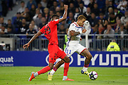 Depay Memphis of Lyon and Herelle Christophe of Nice during the French championship L1 football match between Olympique Lyonnais and Amiens on August 12th, 2018 at Groupama stadium in Decines Charpieu near Lyon, France - Photo Romain Biard / Isports / ProSportsImages / DPPI