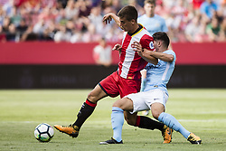 August 15, 2017 - Girona, Spain - 08 Pere Pons from Spain of Girona FC defended by 55 Brahim Diaz from Spain of Manchester City during the Costa Brava Trophy match between Girona FC and Manchester City at Estadi de Montilivi on August 15, 2017 in Girona, Spain. (Credit Image: © Xavier Bonilla/NurPhoto via ZUMA Press)