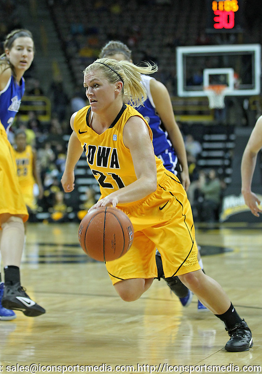 December 20, 2011: Iowa Hawkeyes guard Melissa Dixon (21) drives with the ball during the NCAA women's basketball game between the Drake Bulldogs and the Iowa Hawkeyes at Carver-Hawkeye Arena in Iowa City, Iowa on Tuesday, December 20, 2011. Iowa defeated Drake 71-46.