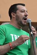 Il segretario Nazionale della Lega Nord Matteo Salvini a Trento in piazza Battisti, per le elezioni comunali del 10 maggio, 6 maggio 2015 © foto Daniele Mosna