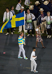 27.07.2012, Olympia Park, London, GBR, Olympia 2012, Eroeffungsfeier, im Bild Einzug der Nationen, Schweden // Entrance of the Nations, Sweden during opening ceremony at the 2012 Summer Olympics at Olympic Park London, United Kingdom on 2012/07/27. EXPA Pictures © 2012, PhotoCredit: EXPA/ Johann Groder