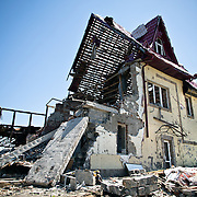 A small village badly damaged by shelling between separatist forces and Ukraine soldiers.