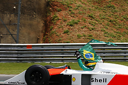 November 17, 2019, Sao Paulo, SP, Brazil: The racing driver Bruno Senna steer the McLaren 1988 MP4/4 that was his uncle Ayton Senna before Brazilian Formula 1 Grand Prix at Interlagos racetrack. (Credit Image: © Marcelo Chello/ZUMA Wire)