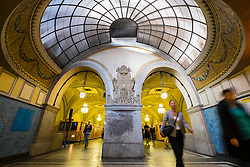 Ornate old architecture at Heidelberger Platz Station on Berlin subway system in Germany