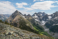 Upper Fisher Creek basin Fisher Peak, Black Peak and Mount Arriva are in the distance. North Cascades National Park Washington
