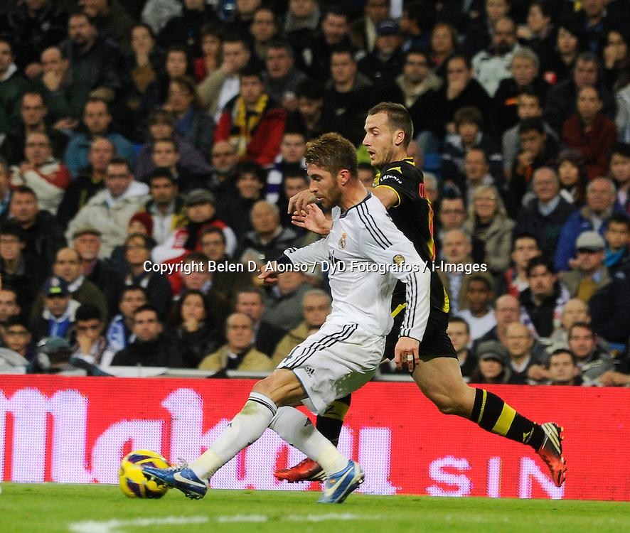 Santiago Bernabeu Stadium. Madrid. Spain. Liga BBVA. Real Madrid 4 vs Zaragoza 0. 4 RM Sergio Ramos, November 3, 2012. Photo by Belen D. Alonso / DyD Fotografos / i-Images...SPAIN  OUT